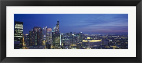 Framed USA, Illinois, Chicago, twilight Print