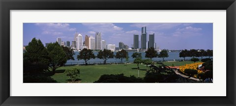 Framed Trees in a park with buildings in the background, Detroit, Wayne County, Michigan, USA Print