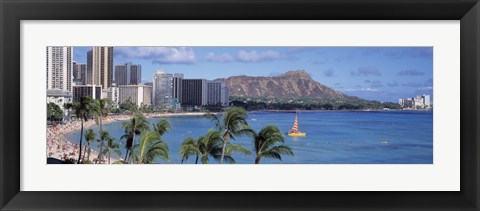 Framed Waikiki Beach, Honolulu, Hawaii, USA Print