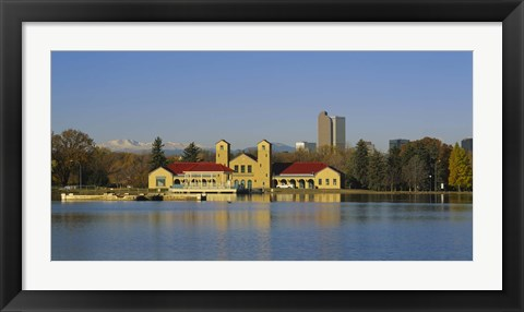 Framed Buildings at the waterfront, City Park Pavilion, Denver, Colorado, USA Print