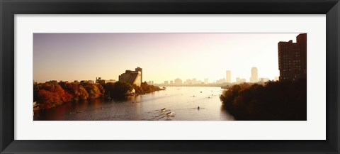 Framed Boats in the river with cityscape in the background, Head of the Charles Regatta, Charles River, Boston, Massachusetts, USA Print