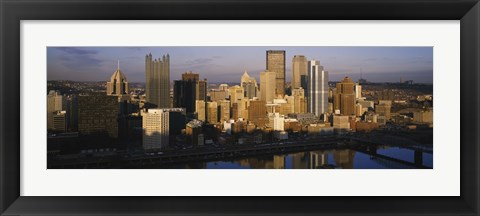 Framed Reflection of buildings in a river, Monongahela River, Pittsburgh, Pennsylvania, USA Print