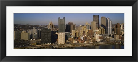 Framed High angle view of buildings in a city, Pittsburgh, Pennsylvania, USA Print