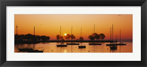 Framed Silhouette of sailboats in a lake, Lake Michigan, Chicago, Illinois, USA Print