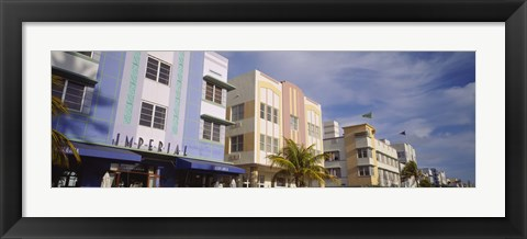 Framed Art Deco Hotel, Ocean Drive, Miami Beach, Florida Print