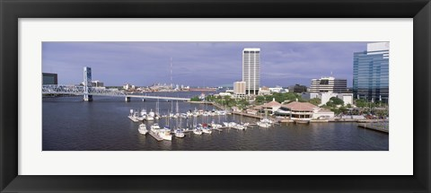 Framed USA, Florida, Jacksonville, St. Johns River, High angle view of Marina Riverwalk Print