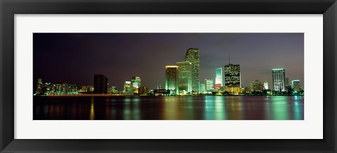 Framed Miami Skyline at Night Print