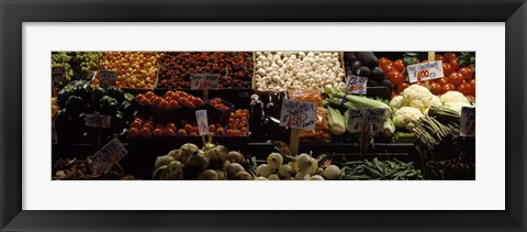 Framed Vegetables at Pike Place Market, Seattle, Washington Print