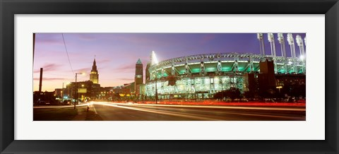 Framed Low angle view of a baseball stadium, Jacobs Field, Cleveland, Ohio, USA Print