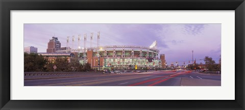 Framed Baseball stadium at the roadside, Jacobs Field, Cleveland, Cuyahoga County, Ohio, USA Print