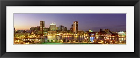 Framed USA, Maryland, Baltimore, City at night viewed from Federal Hill Park Print