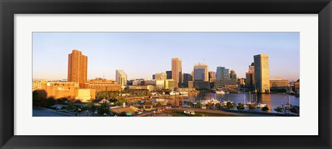 Framed USA, Maryland, Baltimore, High angle view from Federal Hill Parkof Inner Harbor area and skyline Print