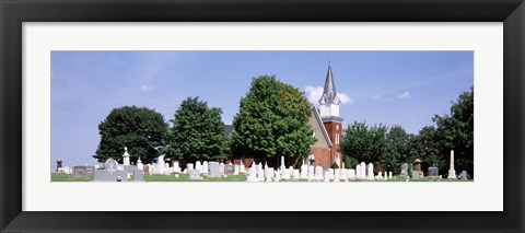 Framed Cemetery in front of a church, Clynmalira Methodist Cemetery, Baltimore, Maryland, USA Print