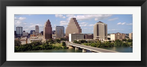 Framed Buildings in a city, Town Lake, Austin, Texas, USA Print
