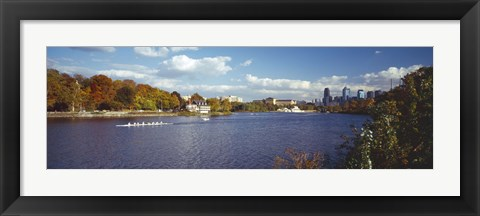 Framed Boat in the river, Schuylkill River, Philadelphia, Pennsylvania, USA Print