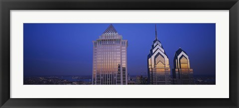 Framed Skyscrapers lit up at night, Mellon Bank Center, Liberty Place, Philadelphia, Pennsylvania, USA Print
