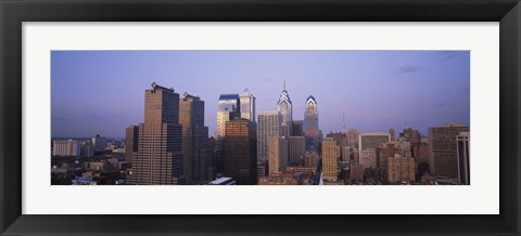 Framed Aerial view of skyscrapers in Philadelphia, Pennsylvania, USA Print