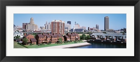 Framed High Angle View Of City Buildings, Erie Basin Marina, Buffalo, New York State, USA Print