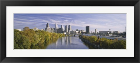 Framed Reflection of buildings in water, Schuylkill River, Northwest Philadelphia, Philadelphia, Pennsylvania, USA Print