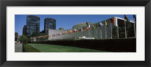 Framed Government building in a city, United Nations Building, Central Park, Manhattan, New York City, New York State, USA Print