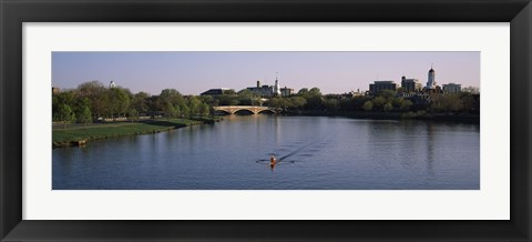 Framed Boat in a river, Charles River, Boston & Cambridge, Massachusetts, USA Print