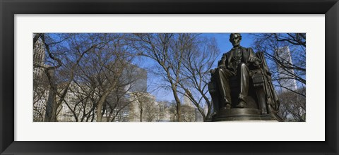 Framed Low angle view of a statue of Abraham Lincoln in a park, Grant Park, Chicago, Illinois, USA Print