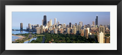 Framed Skyline with Hancock Building and Sears Tower, Chicago, Illinois Print