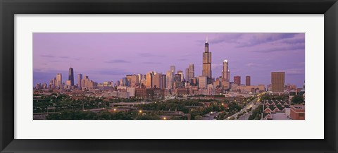 Framed View Of A Cityscape At Twilight, Chicago, Illinois, USA Print