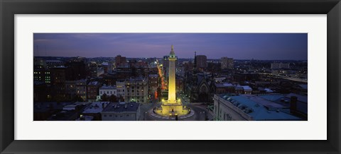 Framed High angle view of a monument, Washington Monument, Mount Vernon Place, Baltimore, Maryland, USA Print