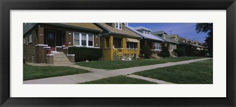 Framed Bungalows in a row, Berwyn, Chicago, Cook County, Illinois, USA Print