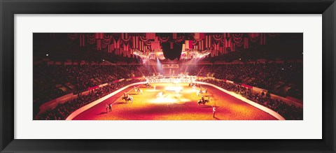 Framed Group of people performing with horses in a stadium, 100th Stock Show And Rodeo, Fort Worth, Texas, USA Print