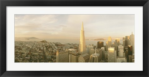 Framed USA, California, San Francisco, Skyline with Transamerica Building Print