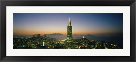 Framed Transamerica Pyramid Lit Up at Dusk, San Francisco, California Print