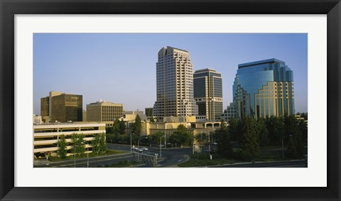 Framed Skyscrapers in a city, Sacramento, California, USA Print