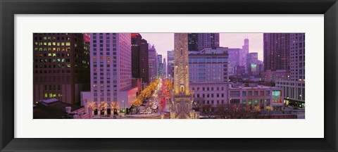 Framed Twilight, Downtown, City Scene, Loop, Chicago, Illinois, USA Print