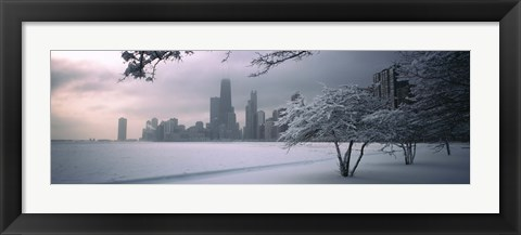 Framed Snow covered tree on the beach with a city in the background, North Avenue Beach, Chicago, Illinois, USA Print