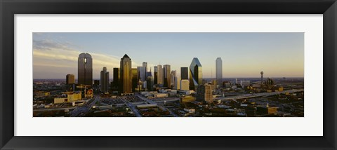 Framed High angle view of buildings in a city, Dallas, Texas, USA Print