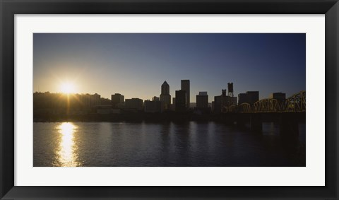 Framed Buildings along the waterfront at sunset, Willamette River, Portland, Oregon, USA Print