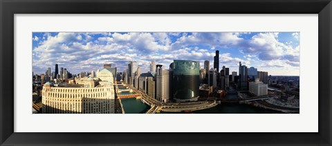Framed Aerial View of Chicago and river Print