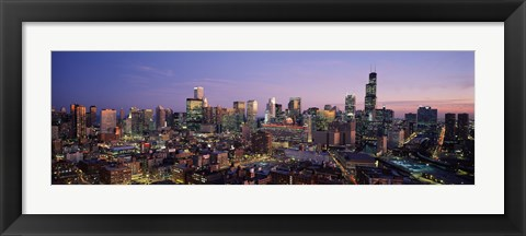 Framed Chicago with Purple Sky at Night Print