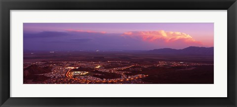 Framed Aerial view of a city lit up at sunset, Phoenix, Maricopa County, Arizona, USA Print