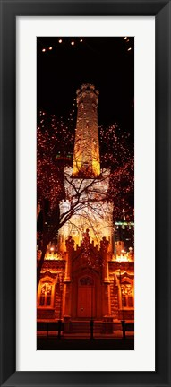 Framed Night, Old Water Tower, Chicago, Illinois, USA Print