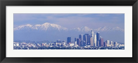 Framed Buildings in a city with snowcapped mountains in the background, San Gabriel Mountains, City of Los Angeles, California, USA Print
