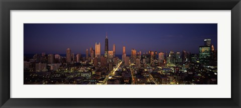 Framed Chicago Skyline at Night Print