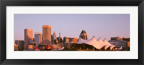 Framed Morning skyline & Pier 6 concert pavilion Baltimore MD USA Print