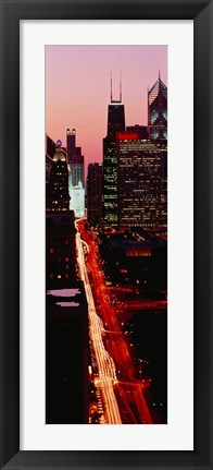 Framed Sunset Aerial Michigan Avenue Chicago IL USA Print
