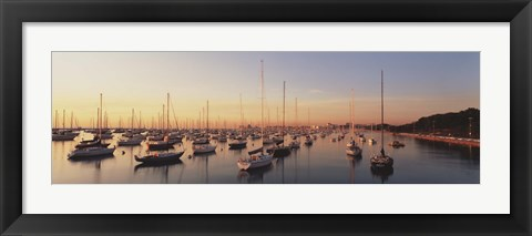 Framed Sunset & harbor Chicago IL USA Print