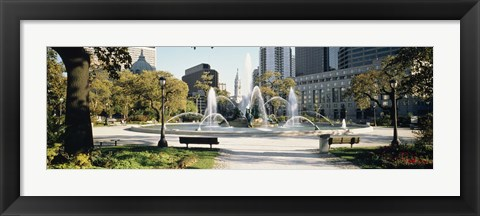 Framed Fountain in a park, Swann Memorial Fountain, Logan Circle, Philadelphia, Philadelphia County, Pennsylvania, USA Print