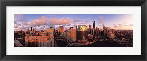Framed Sun reflecting off skyscrapers, Chicago IL Print