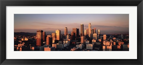Framed Skyline At Dusk, Los Angeles, California, USA Print